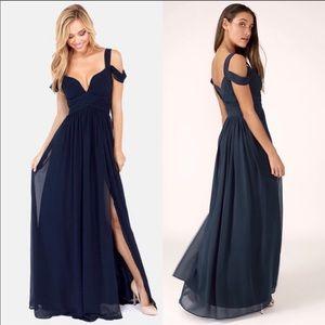 Lulu's - Ocean of Elegance- Navy Blue Dress - M